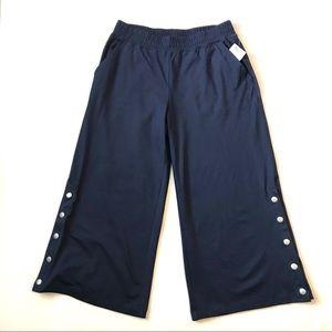 AERIE Pants Cropped Wide Leg Navy Blue Lounge Wear